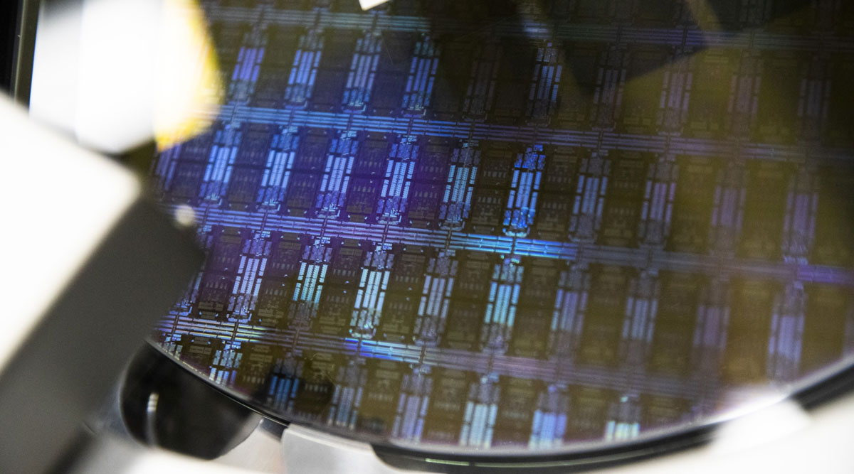 A wafer is processed in a semiconductor manufacturing facility in Malta, N.Y. (Adam Glanzman/Bloomberg News)