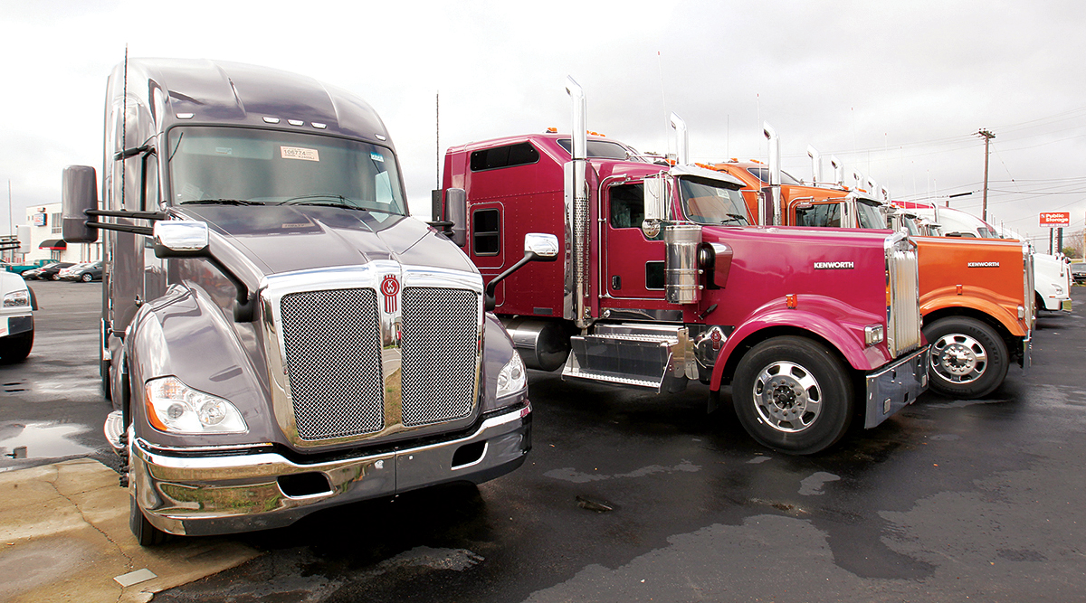Kenworth trucks on a sales lot