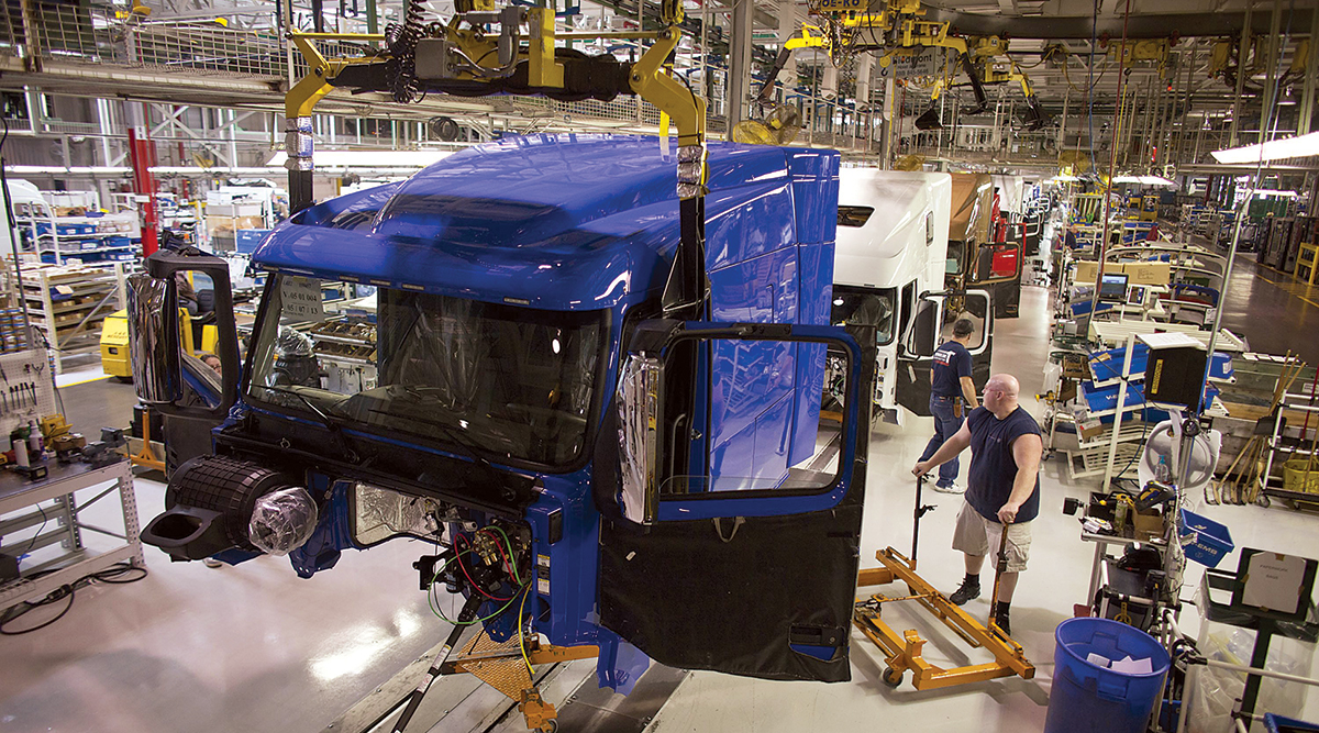 Truck on production line at Volvo plant