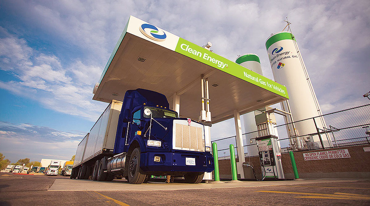 Truck refueling at Clean Energy