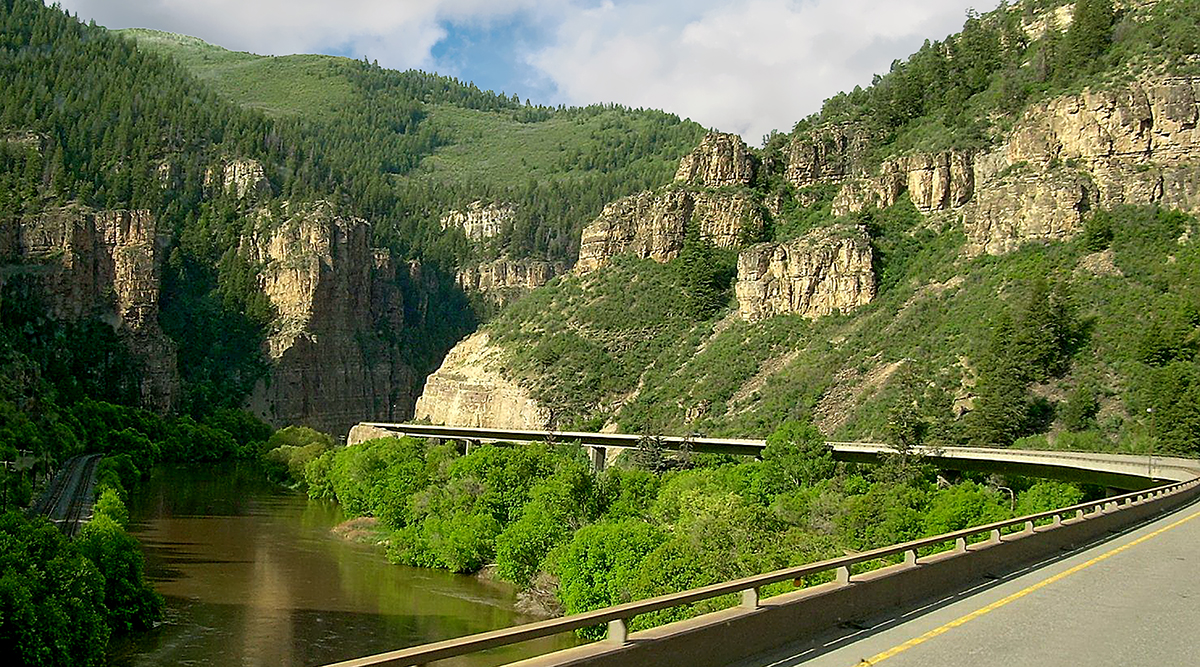 Interstate 70 stretching through Glenwood Canyon near French Creek, Colorado