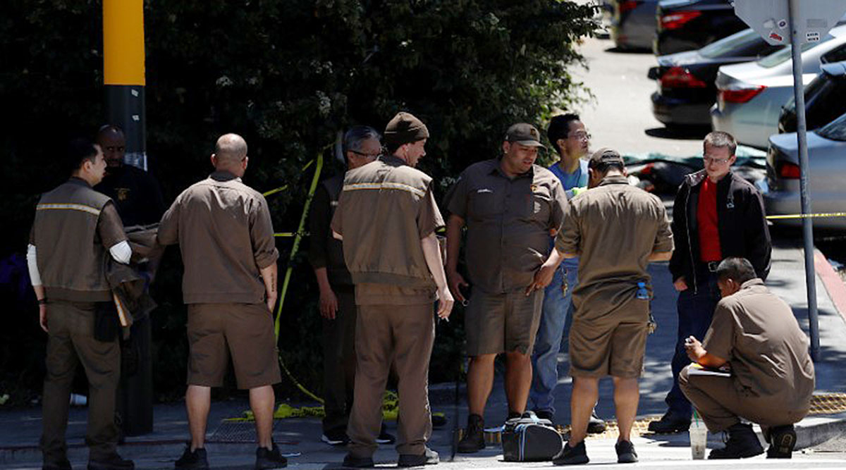 Shocked UPS drivers gather after shooting rampage