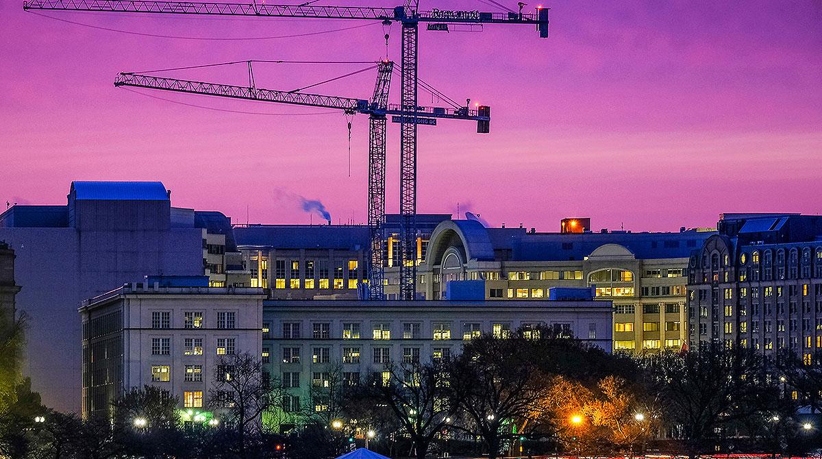 Construction cranes in Washington, D.C.