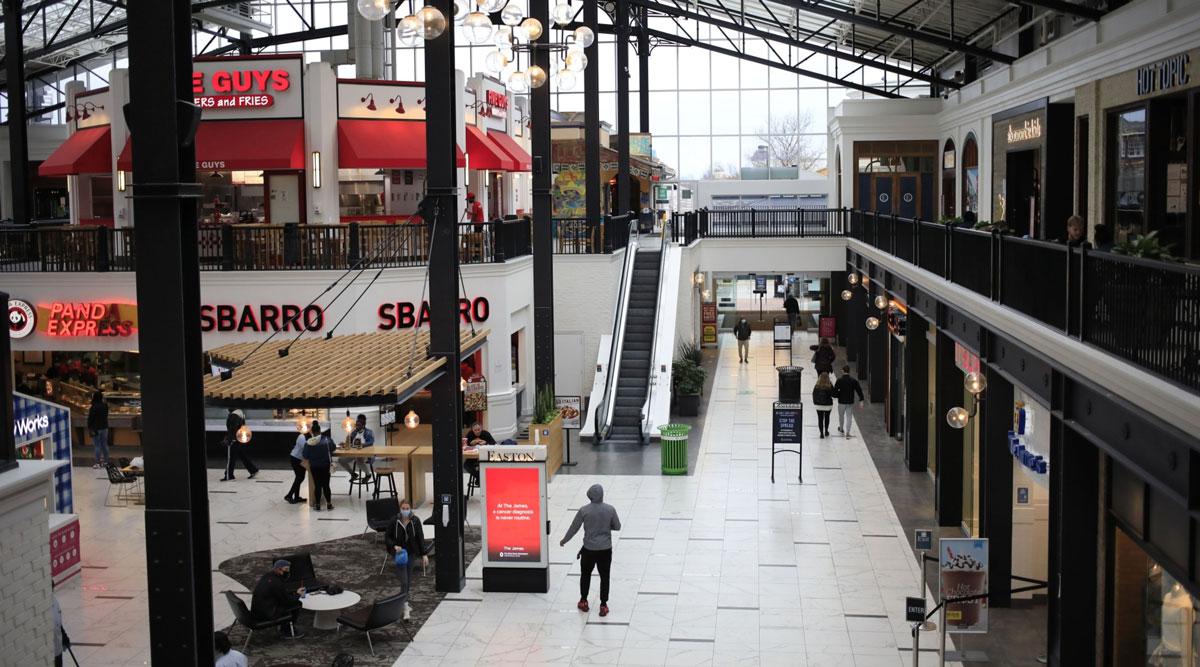 Shoppers walk through the Easton Town Center Mall in Columbus, Ohio. (Luke Sharrett/Bloomberg News)