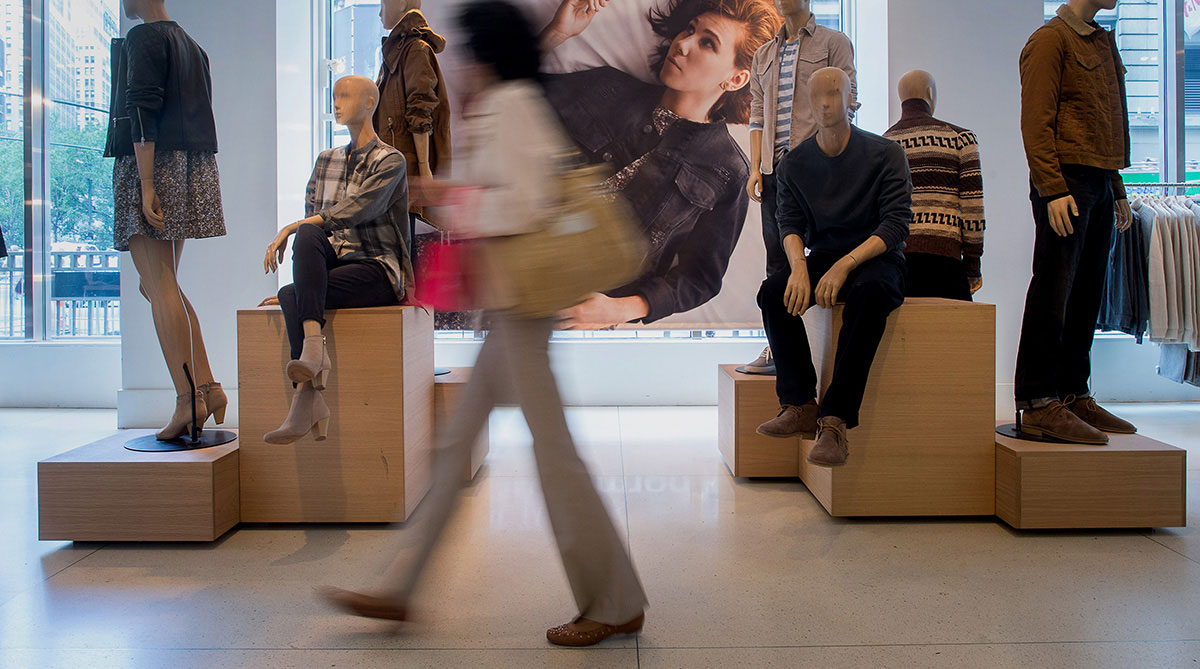 Customers browse at The Gap