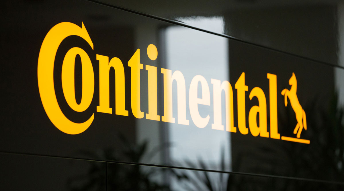 A Continental logo sits on display.