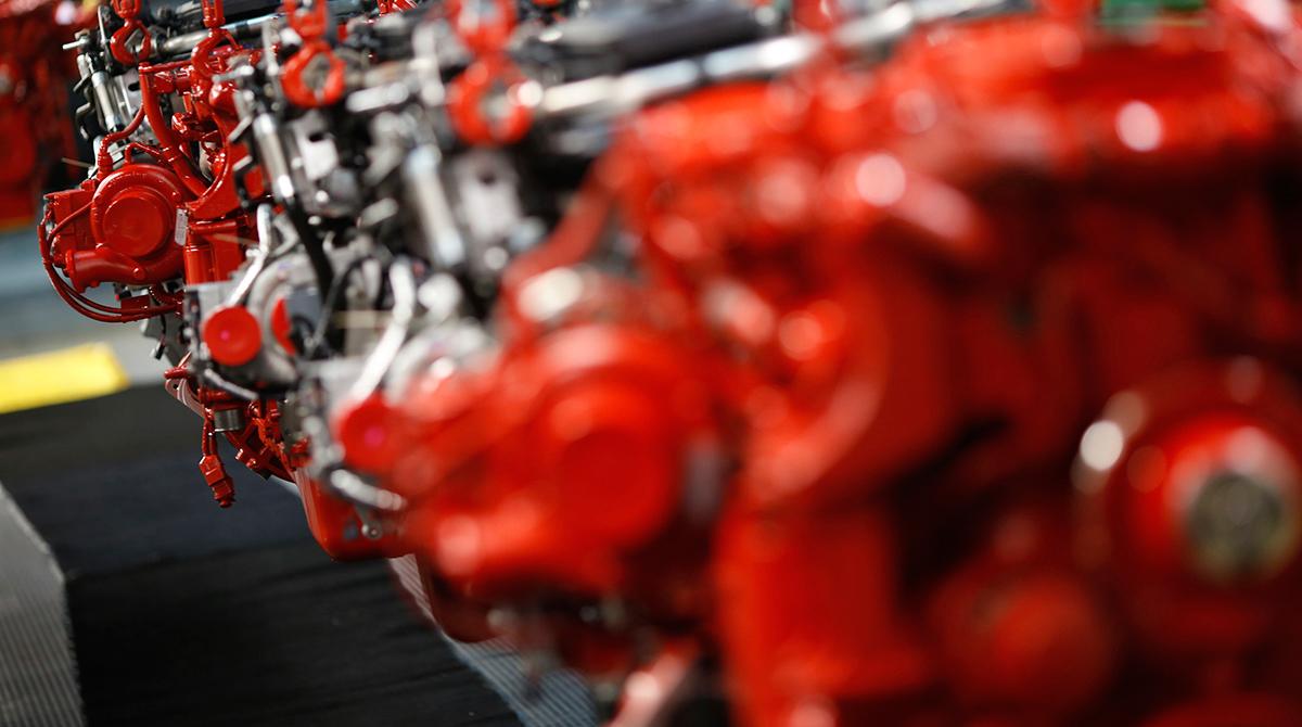 Engines hang at a Cummins Inc. factory