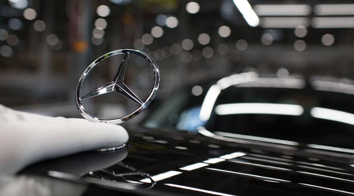 A Mercedes-Benz E-Class car during assembly.