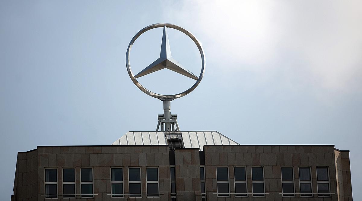 Daimler logo atop building