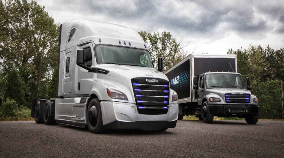 The Freightliner eCascadia and eM2 electric vehicles