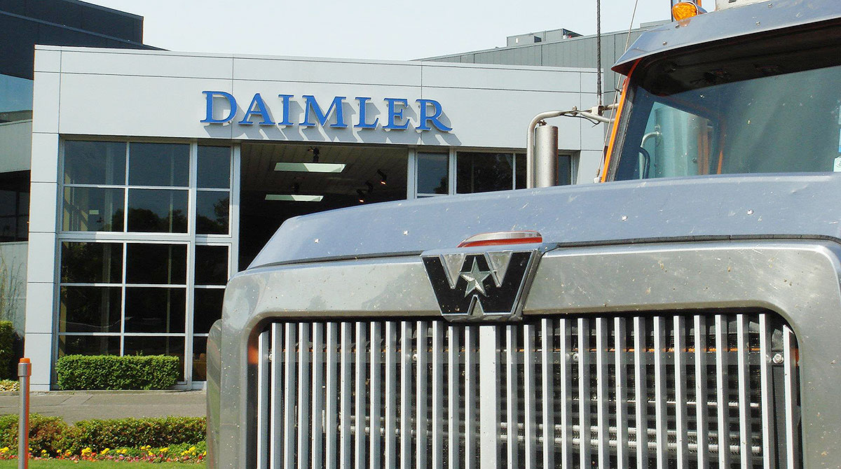 Daimler building and Western Star truck