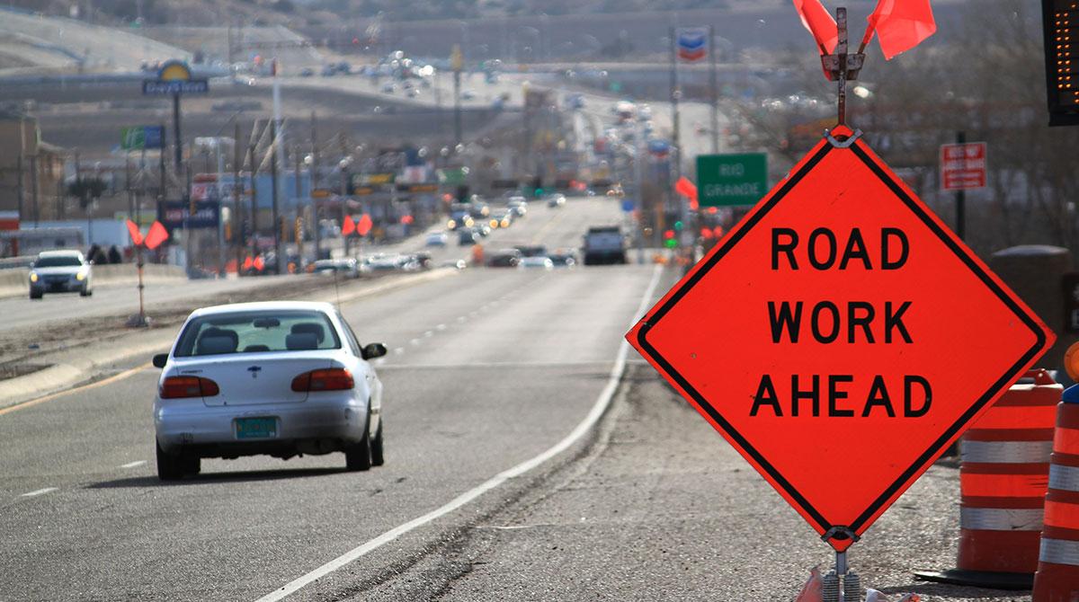 Car entering highway work zone