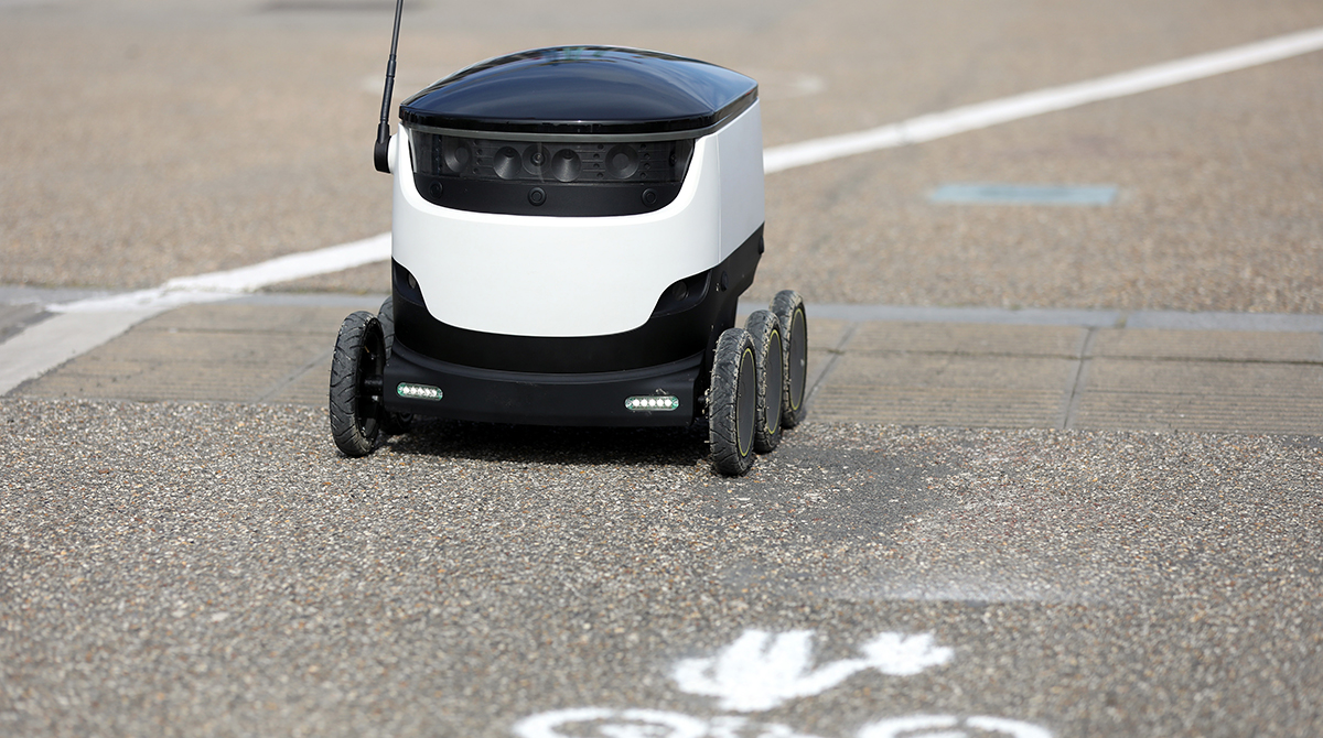 An autonomous parcel delivery robot, developed by Starship Technologies.