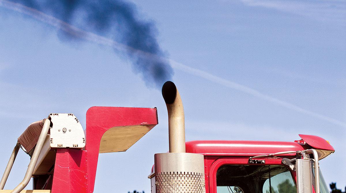 exhaust from diesel truck