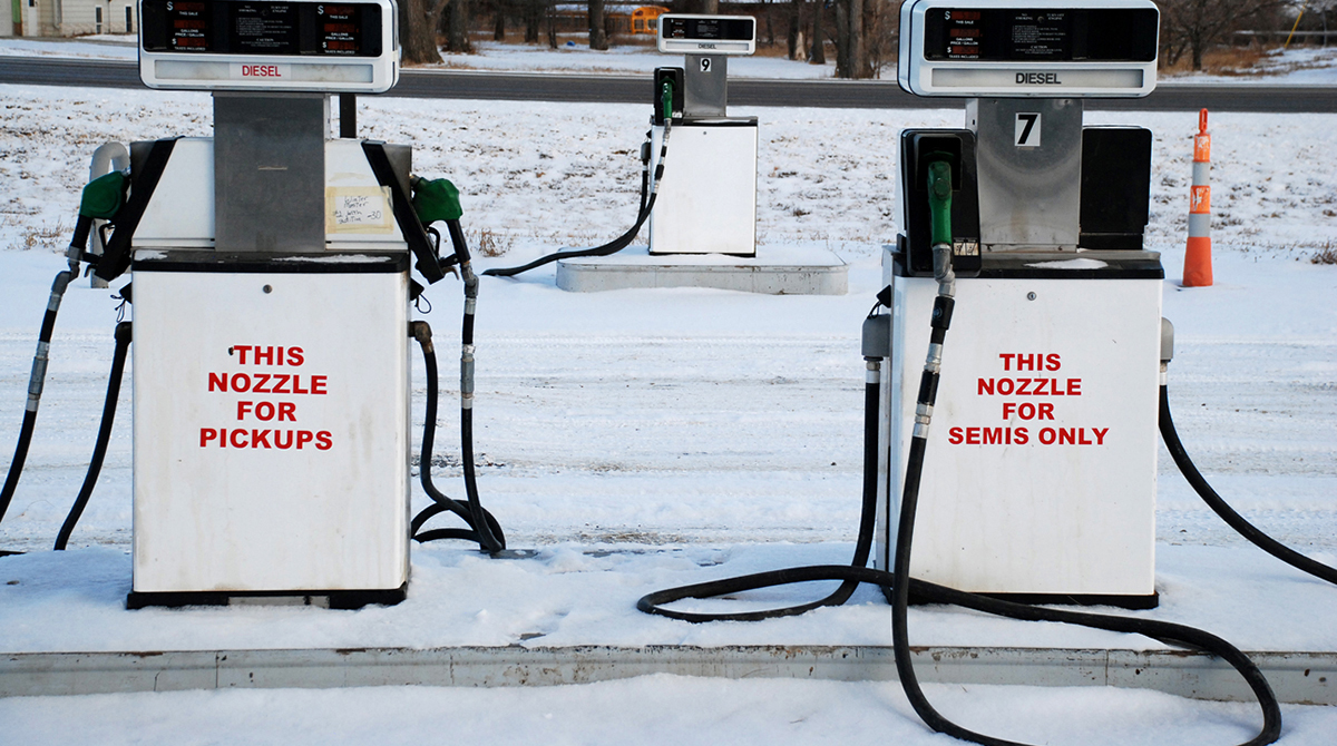 Diesel pumps in the snow