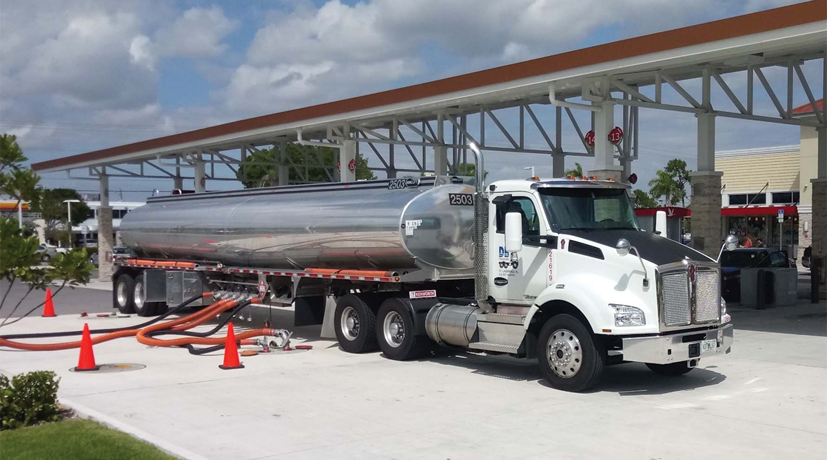 A DB Trucking tanker delivers fuel