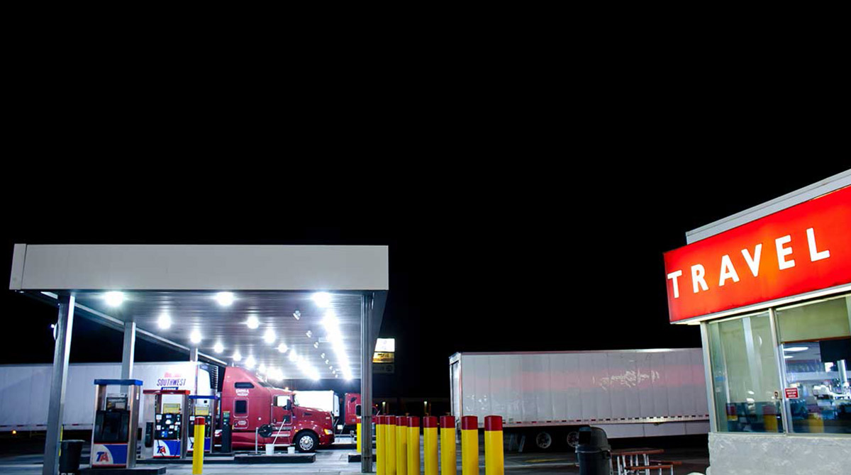 A fueling station at night