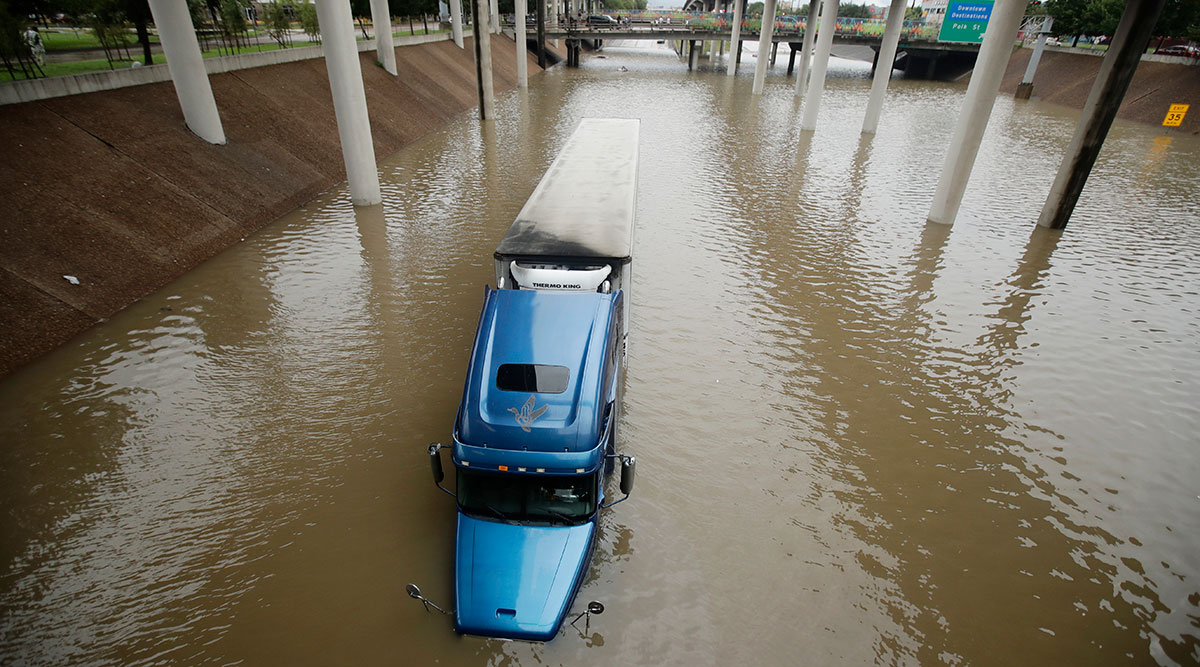 Truck submerged in Hurricane Harvey floodwaters