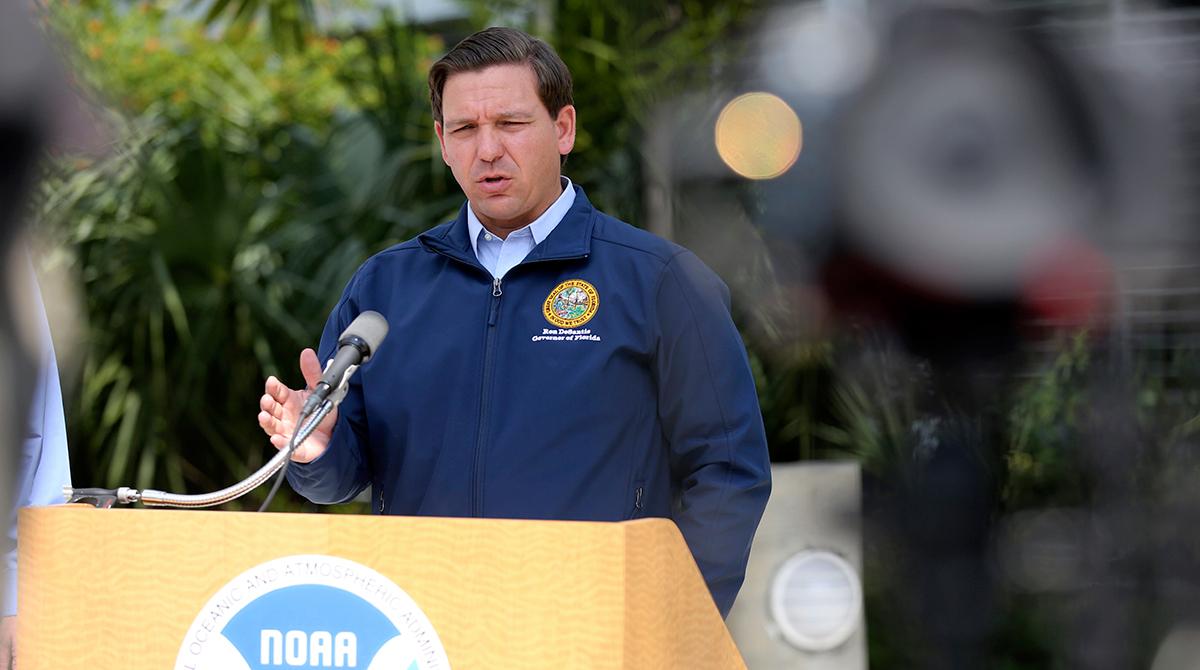 Florida Gov. Ron DeSantis gives a press release ahead of Hurricane Dorian.