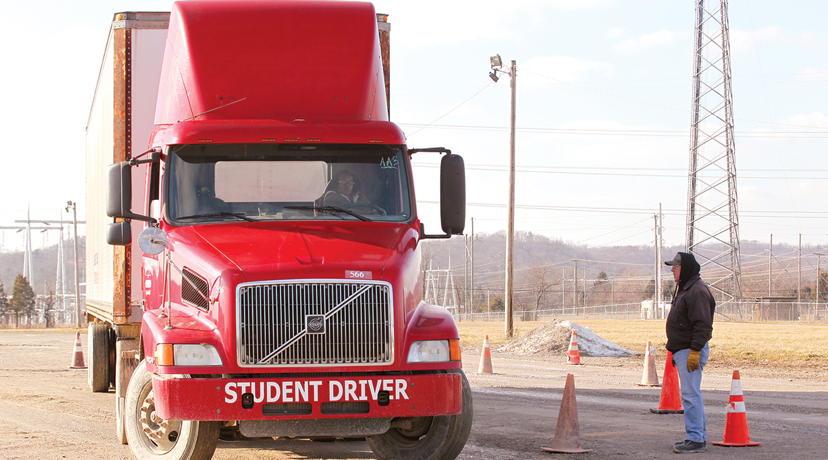 Truck Training America student driver practices behind the wheel