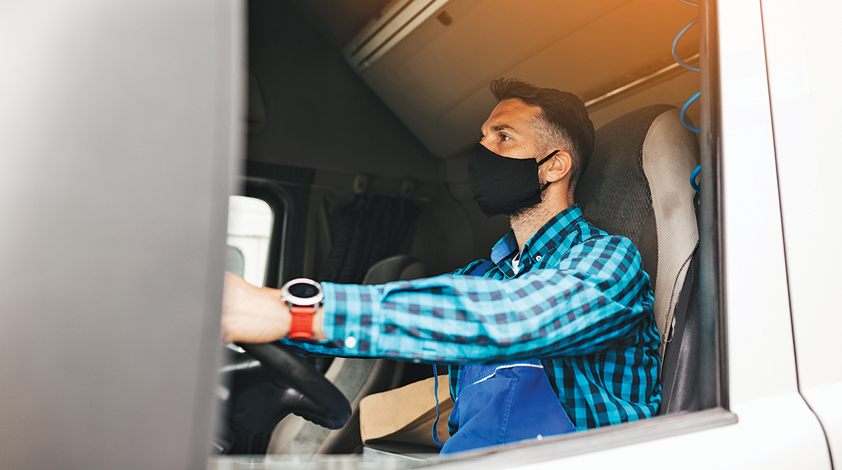 young driver wearing mask