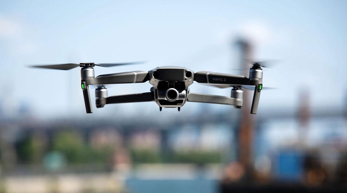 A DJI Technology Co. drone flies over Brooklyn in August 2018. (Mark Kauzlarich/Bloomberg News)