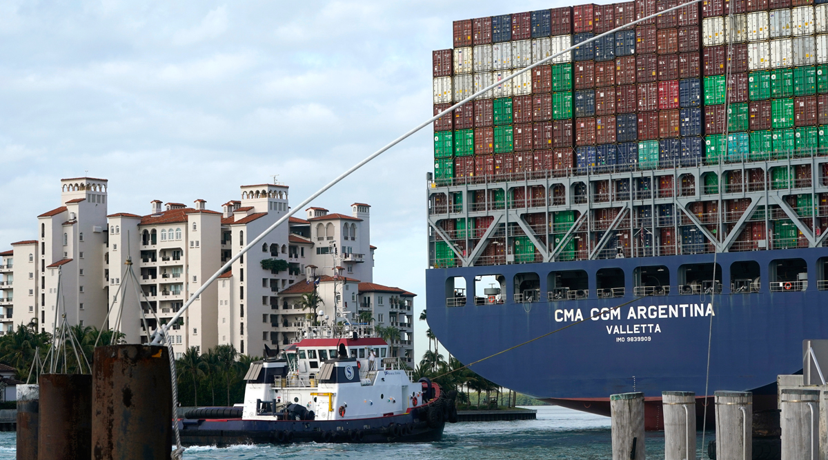 The CMA CGM Argentina arrives at PortMiami in April. (Lynne Sladky/Associated Press)
