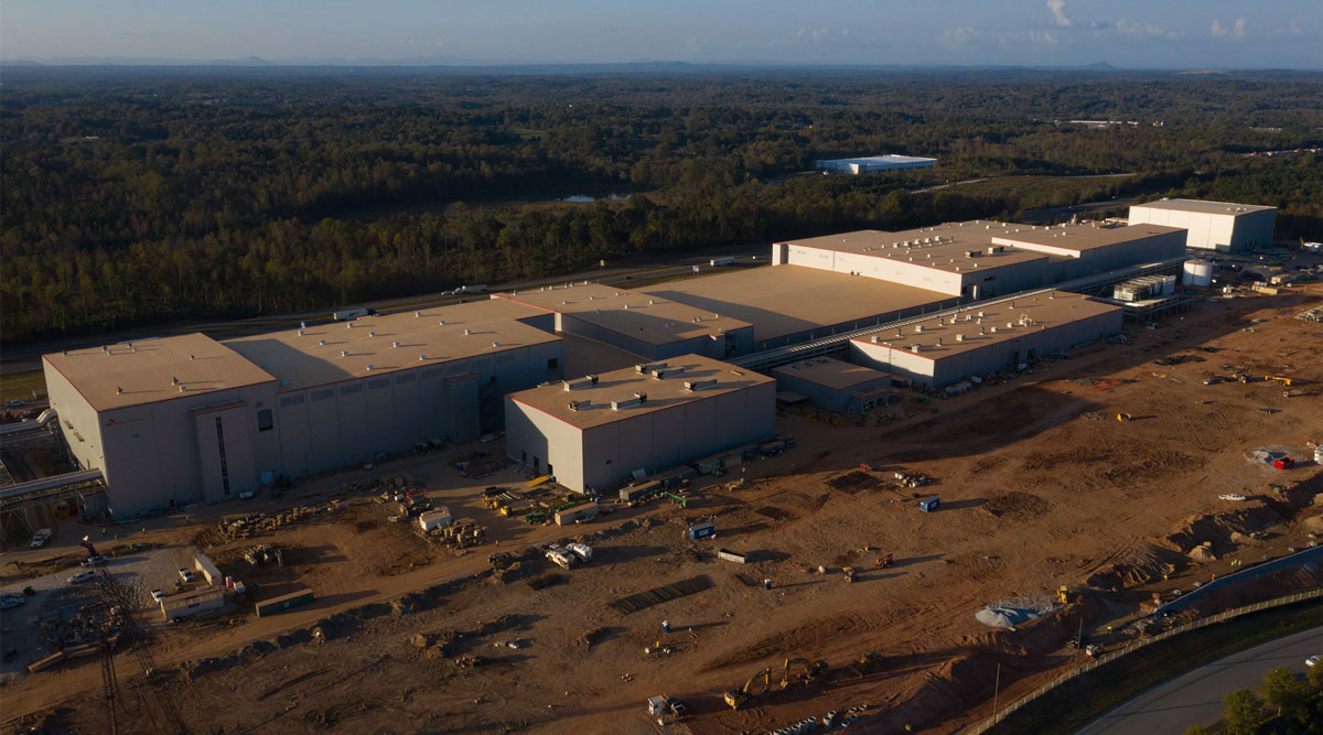 The SK Battery America facility is seen under construction in Commerce, Ga., on Oct. 22.