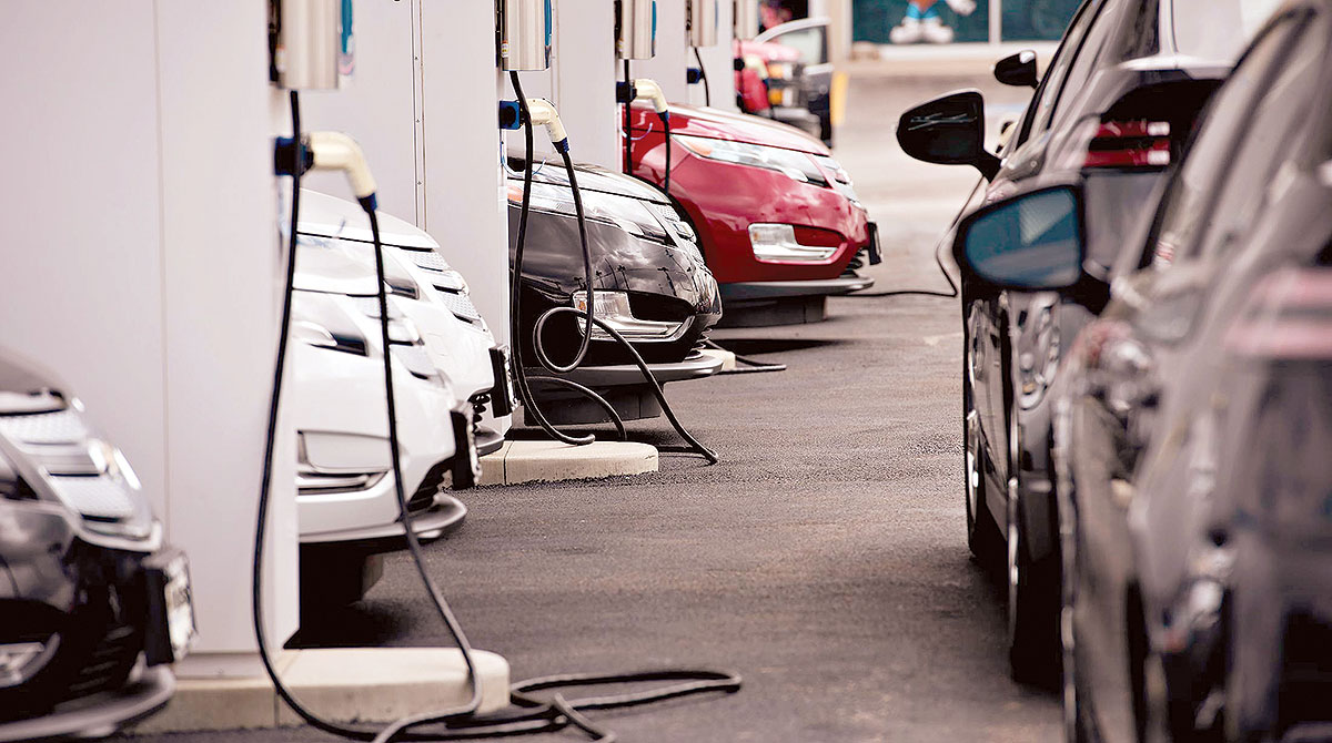 electric vehicles at charging station