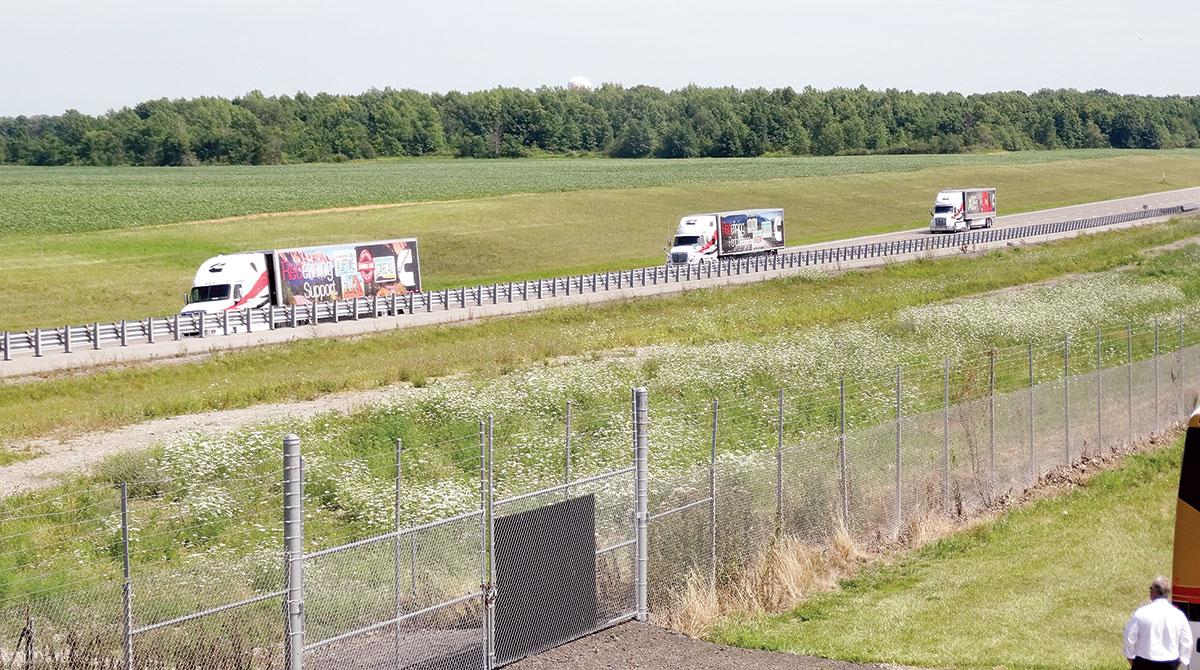 Trucks on a test track