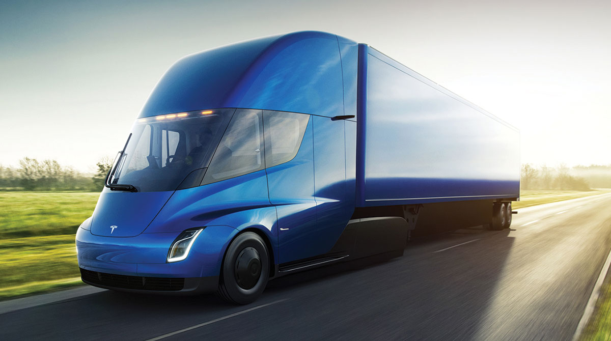 Electric truck on highway
