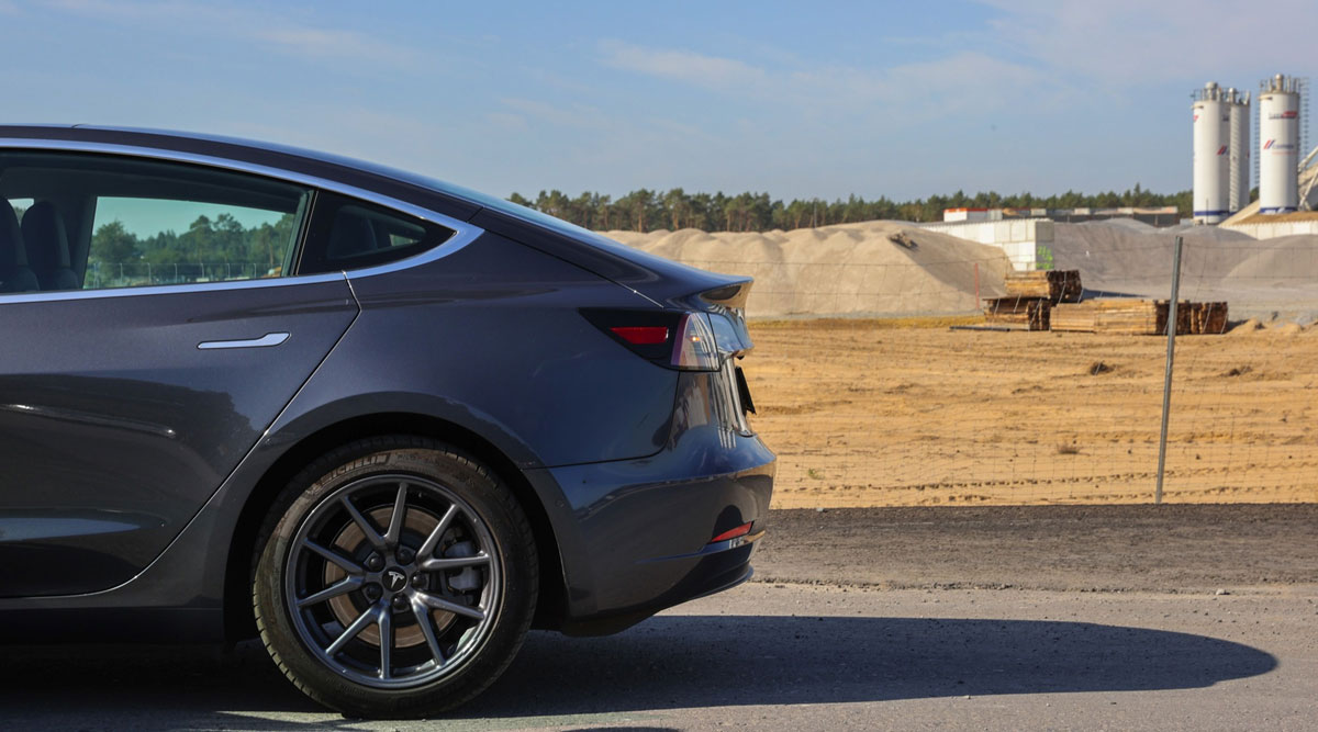A Tesla Model S vehicle sits parked on a road near the company's Gigafactory building site in Germany in September 2020.