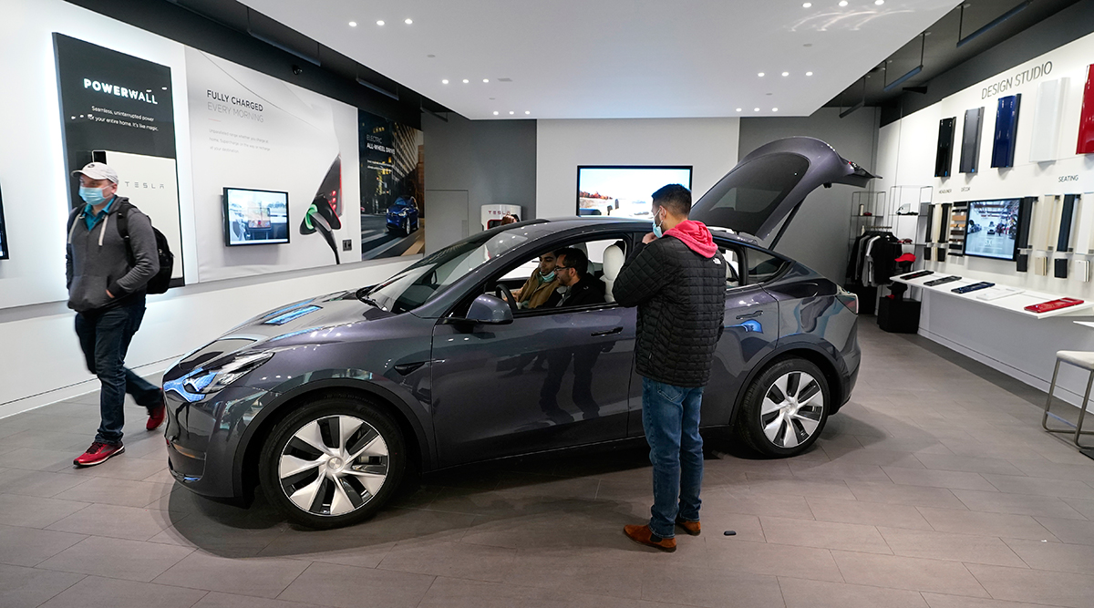 A Tesla Model Y Long Range is displayed at the Tesla Gallery on Feb. 24 in Troy, Mich.