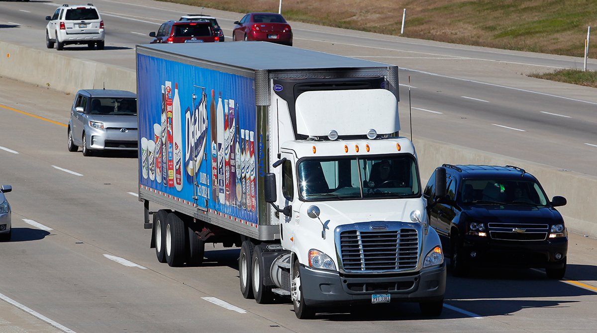 A Dean's Dairy truck on Interstate 65 in Jeffersonville, Ind.