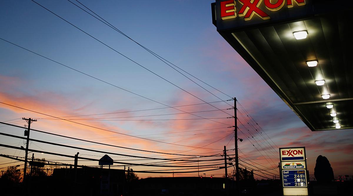 Exxon gas station as sun sets