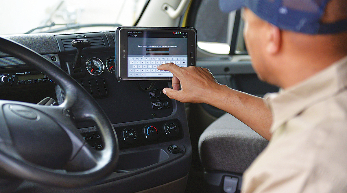 Driver using Trimble e-log device