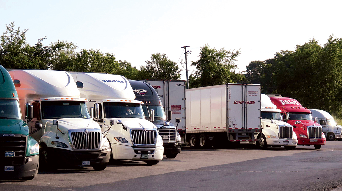 Row of parked trucks