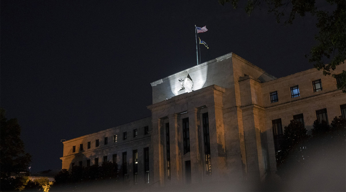 Federal Reserve building in Washington, D.C., at night