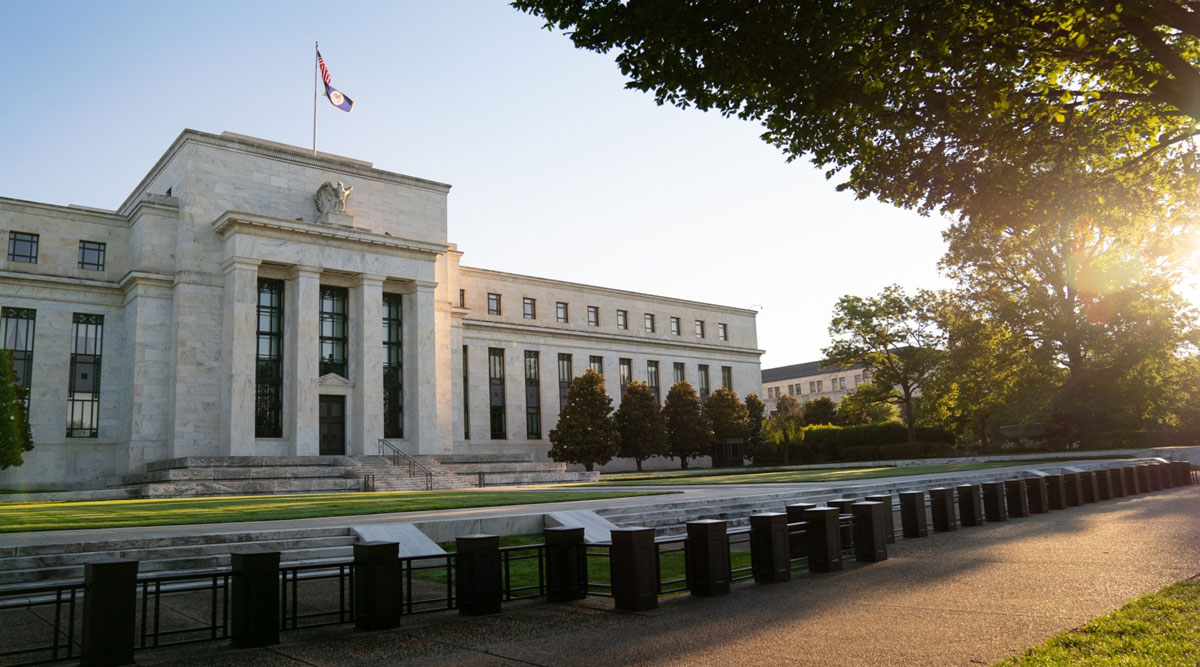 The Marriner S. Eccles Federal Reserve building stands in Washington on Aug. 18.