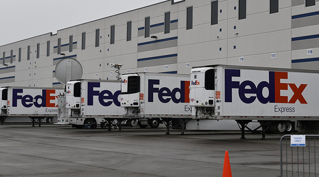 FedEx refrigerated trailers. FedEx Express will be helping to ship the Johnson & Johnson vaccine. (FedEx Corp.)
