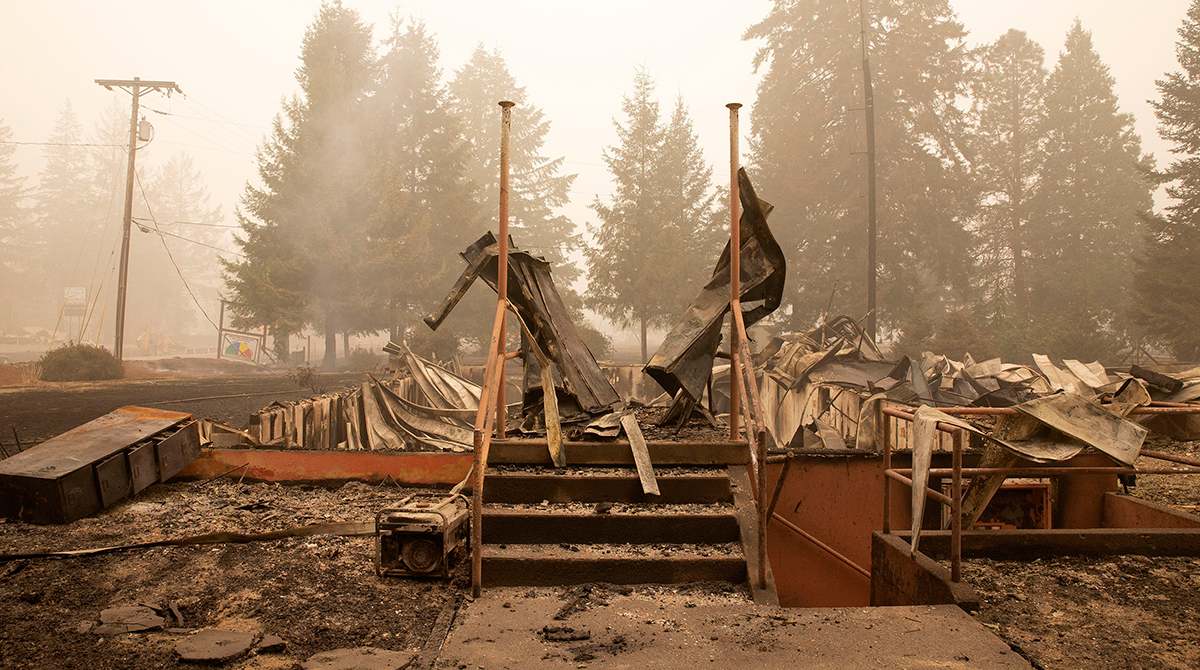 Building destroyed by wildfire in Oregon