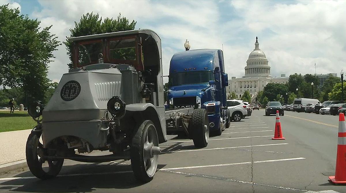 WWI-era and modern trucks in Washington