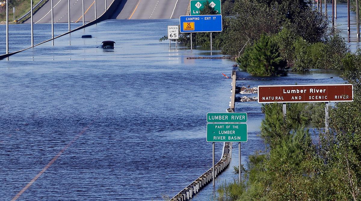 Lumber River overflowing Interstate 95 in Lumberton, N.C.