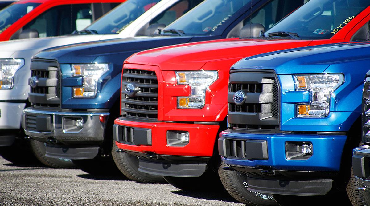 Ford F-150 trucks on a lot