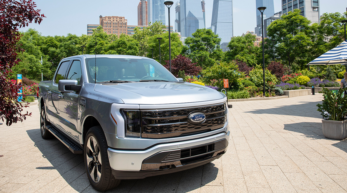 The Ford F-150 Lightning on display in New York City