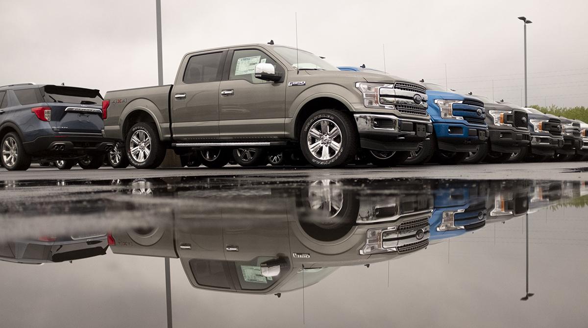 Ford F-150 trucks at dealer