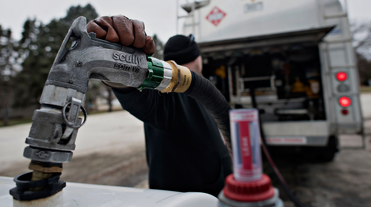Michlig Energy driver Jake Gould delivers diesel in Walnut, Ill.