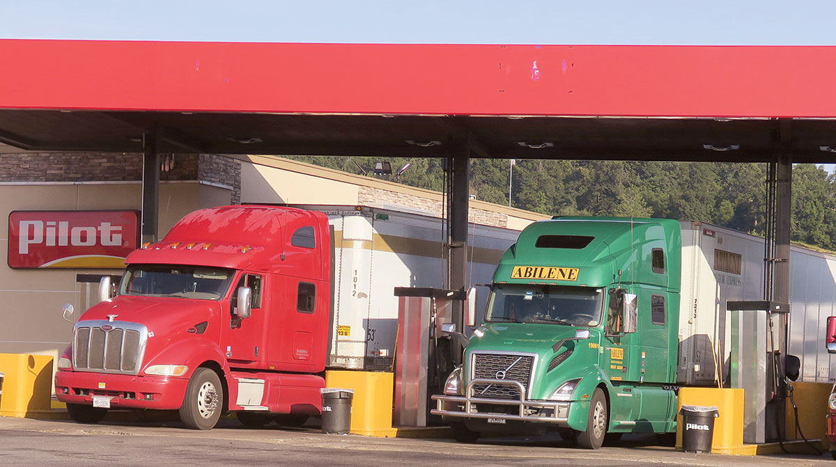 Trucks fueling at a truck stop
