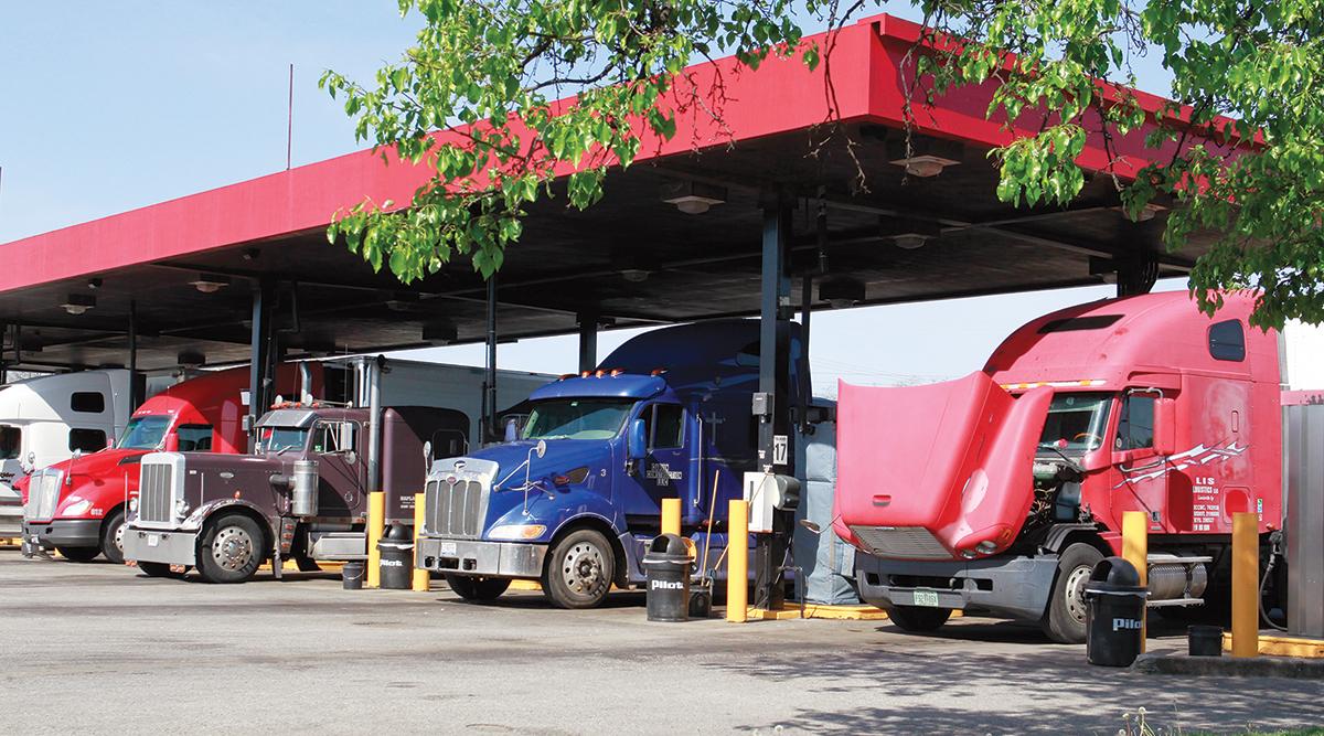 Trucks fuel up at a Pilot Flying J