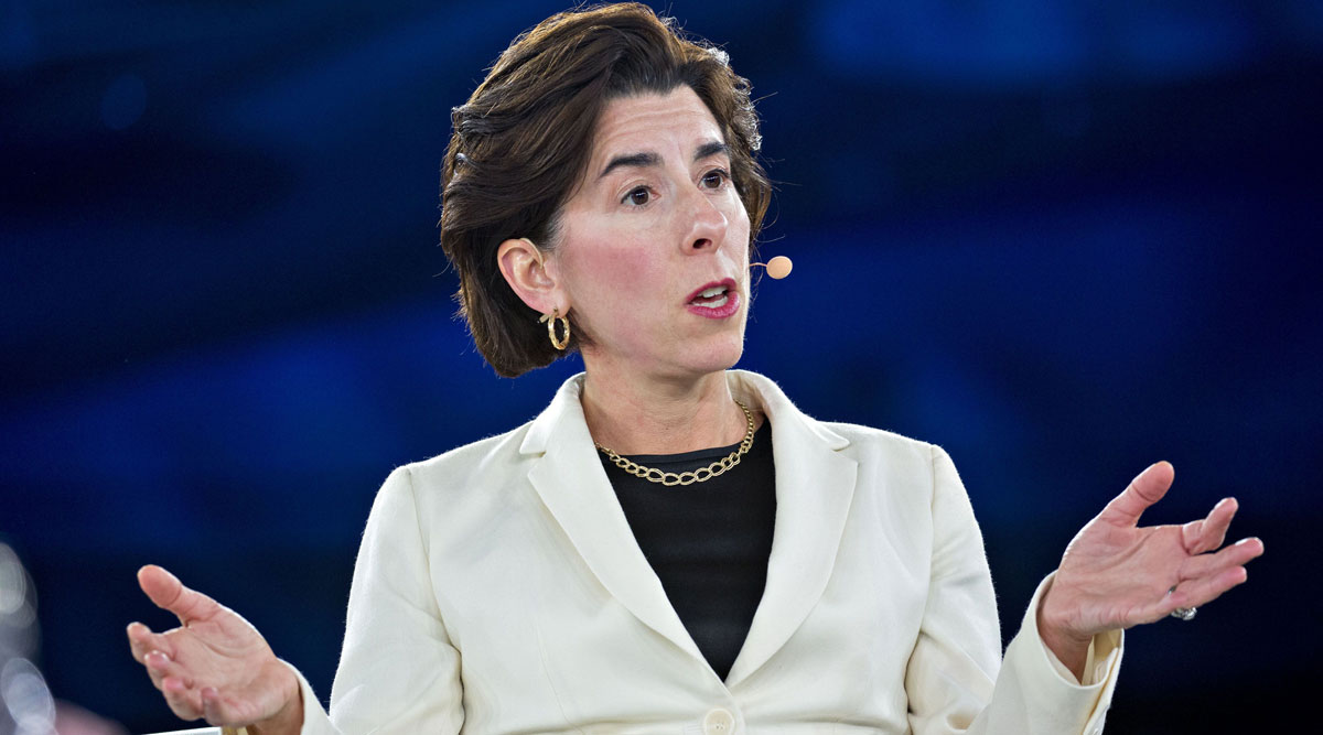 Rhode Island Gov. Gina Raimondo speaks during a panel discussion at a summit in Washington in 2018.